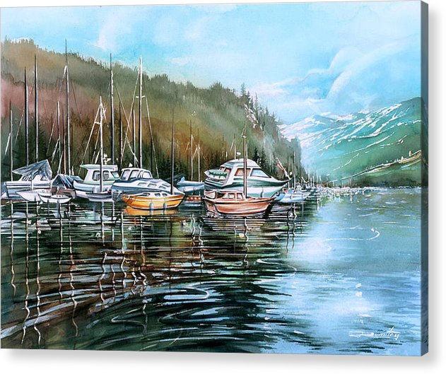 Landscape Acrylic Print featuring the painting Spring Deep Cove by Dumitru Barliga