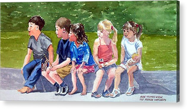 Children Acrylic Print featuring the painting The Parade Watchers by Anne Trotter Hodge