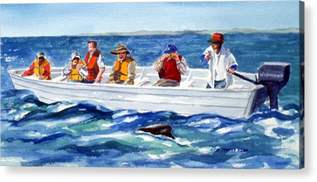 People Acrylic Print featuring the print The Whale Watchers by Anne Trotter Hodge
