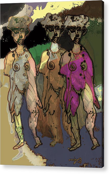 Repeat Unit Acrylic Print featuring the painting 3 Of A Kind by Noredin Morgan