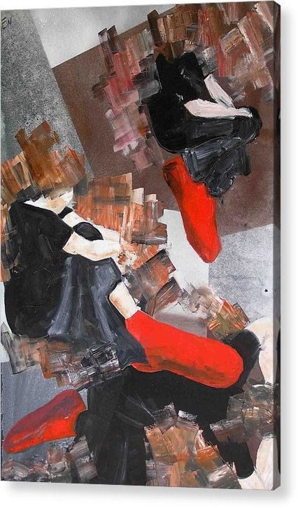 Acrylic Print featuring the painting 3 Siluets In Red Socks by Evguenia Men