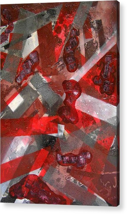 Abstract Acrylic Print featuring the painting 8 Red Objects by Evguenia Men