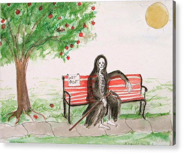 Darkestartist Day Death Holiday Humor Ink Off Paint Park Watercolor Watercolour Acrylic Print featuring the painting A Day At The Park by Darkest Artist