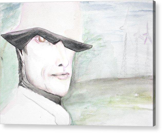 Perry Farrell Jane's Addiction Darkestartist Darkest Artist Acrylic Print featuring the painting A Perry Farrell Plan by Darkest Artist