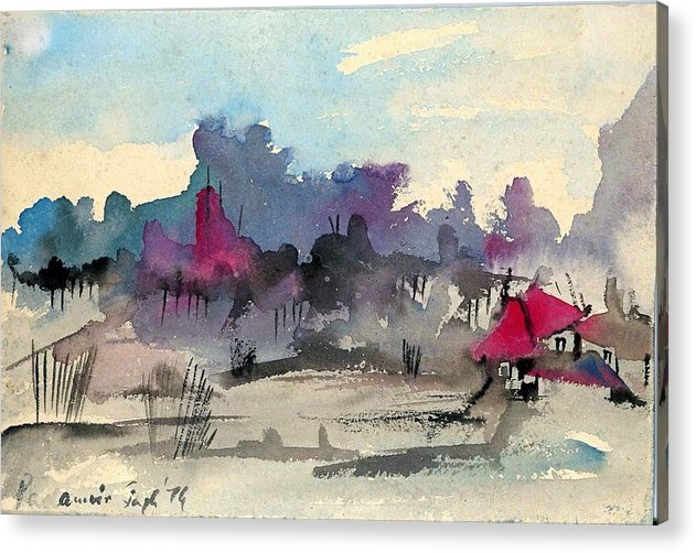 Village Acrylic Print featuring the painting A village among the hills by Padamvir Singh