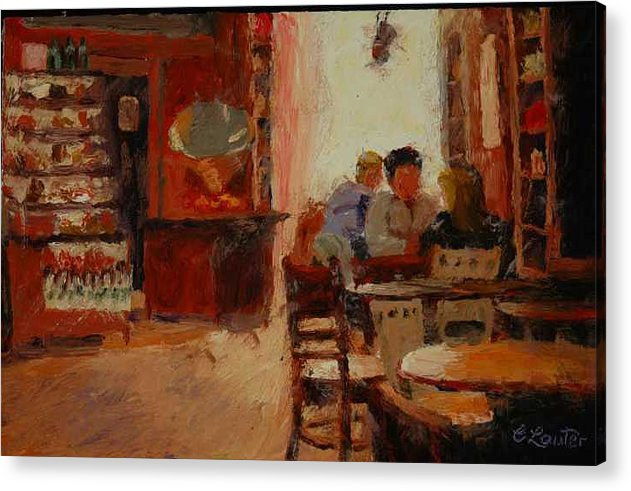Interior At Coffee Shop Acrylic Print featuring the painting Afternoon Espresso by Colleen Murphy