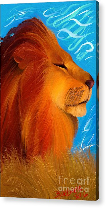 Lion Acrylic Print featuring the painting Against The Wind by Barbara Stanley