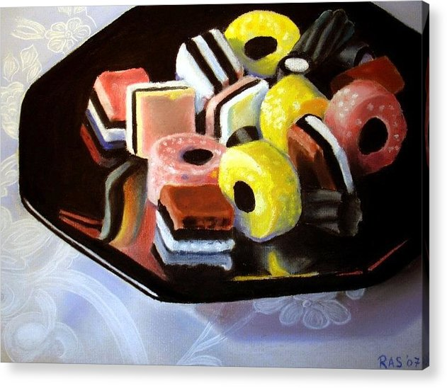 Still Life Acrylic Print featuring the painting Allsorts I by Rose Sciberras