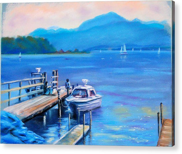 Pastel Lake Chiemsee Acrylic Print featuring the painting am Chiemsee by Johannes Baul