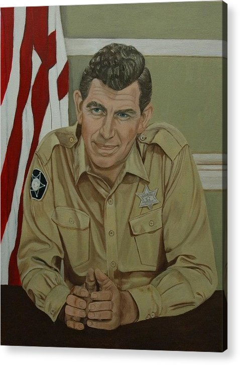 Andy Acrylic Print featuring the painting Andy Griffith by Tresa Crain