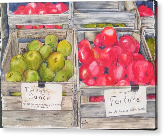 Apples Watercolor Red Green Acrylic Print featuring the painting Apple Crate by Diane Ziemski