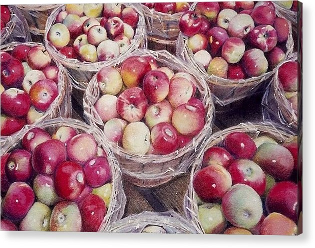 Red Acrylic Print featuring the painting Apples by Constance Drescher