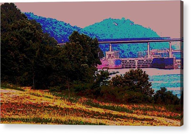 Arkansas Acrylic Print featuring the digital art Arkansas River Lock by Tom Herrin