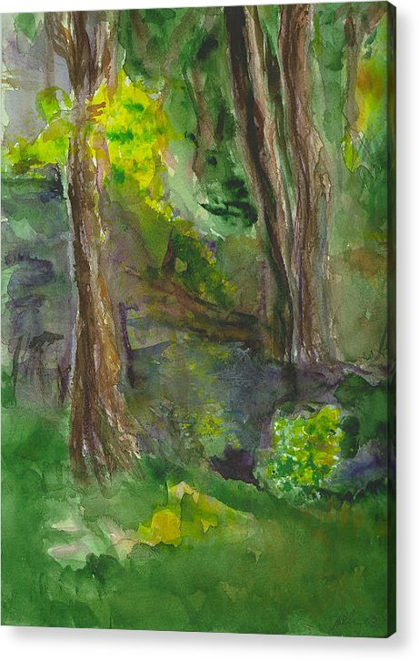 Water Trees Landscape Impressionist Hillaryart Acrylic Print featuring the painting Bandera Trees by Hillary McAllister