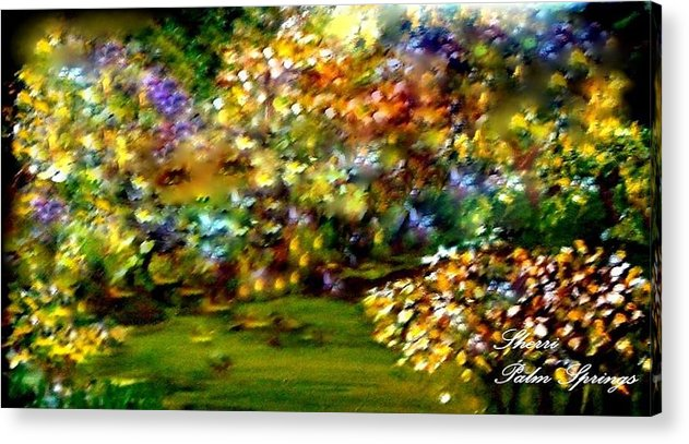 Eyes Acrylic Print featuring the painting Beautiful Eyes Watching Over Her Garden by Sherri's - Of Palm Springs