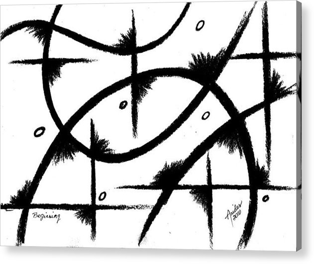 Modernist - Contemporany Acrylic Print featuring the drawing Beginning by Arides Pichardo