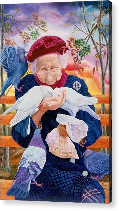 Super Detailed Lady With 5 Pegeons At Manhattan Park Acrylic Print featuring the painting Bird Lady 2 by Benito Alonso