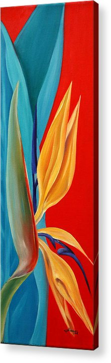 Flower Acrylic Print featuring the painting Bird Of Paradise2 by Elsa Gallegos