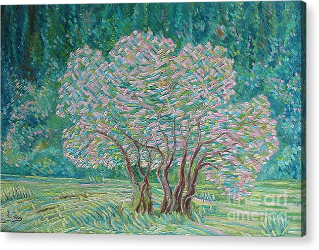 Oil Acrylic Print featuring the painting Bloomy Trees by Xanthie Zervou