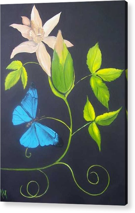 Butterfly Acrylic Print featuring the painting Blue Butterfly by Martha Mullins