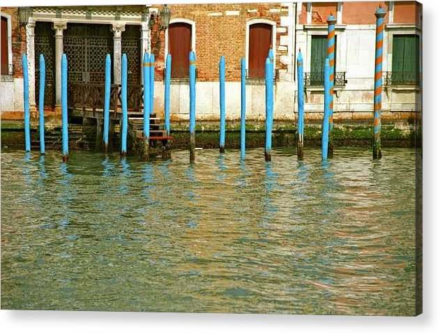 Venice Acrylic Print featuring the photograph Blue Poles In Venice by Michael Henderson