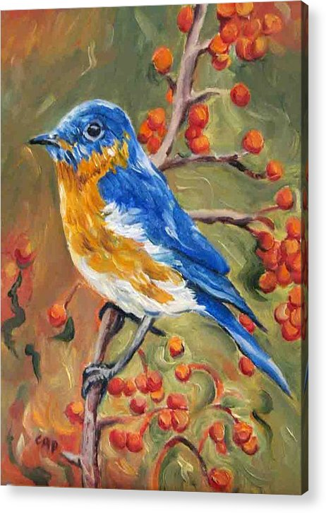 Bluebird Acrylic Print featuring the painting Bluebird by Cheryl Pass