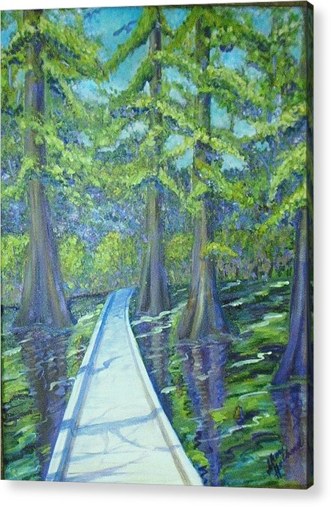 Cypress Acrylic Print featuring the painting Boardwalk at Cypress Preserve by Sheri Hubbard