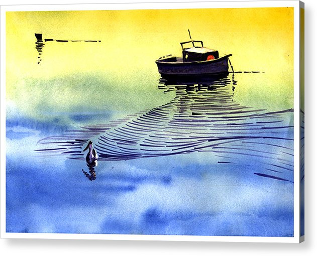 Watercolor Acrylic Print featuring the painting Boat And The Seagull by Anil Nene