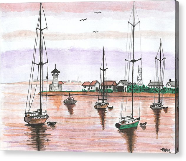 Acrylic Print featuring the painting Boats In The Harbor by Sea Sons Home and Life