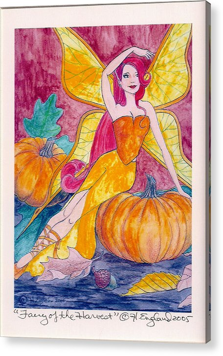 Fairy Fantasy Artwork Fields Autumn Butterflies Acrylic Print featuring the painting Bountiful Harvest by Hilary England
