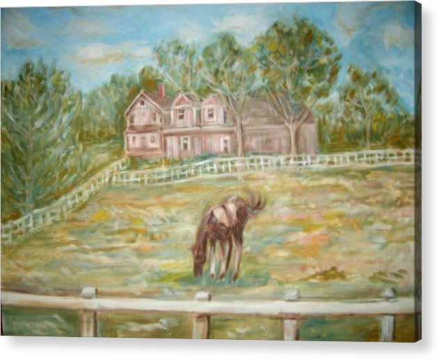 Horse Field House Fence Landscape Animal Trees Acrylic Print featuring the painting Brown And White Horse by Joseph Sandora Jr