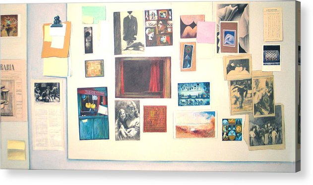 Trompe L Acrylic Print featuring the painting Bulletin Board by James LeGros