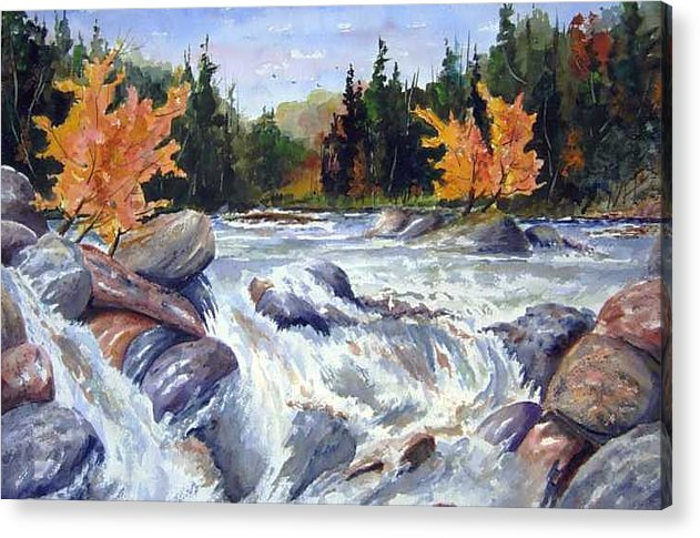 Fast Water Shoots The Rapids At Buttermilk Falls - Olfd Logging Chute - Ontario Acrylic Print featuring the painting Buttermilk Falls by Wilfred McOstrich