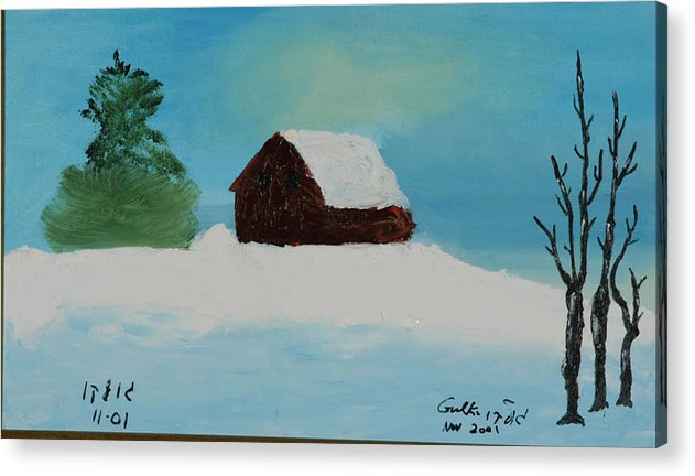 Winter Acrylic Print featuring the painting Cabin In Vermont by Harris Gulko