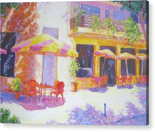 Oil Acrylic Print featuring the painting Cafe in Spain by Pixie Glore