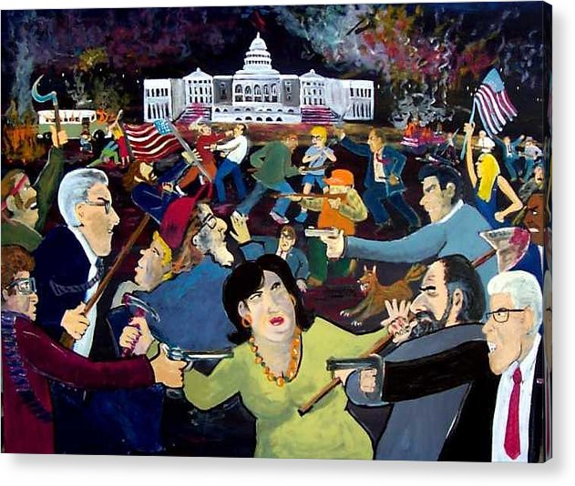 War Acrylic Print featuring the painting Carnival of Democracy by Richard Hubal