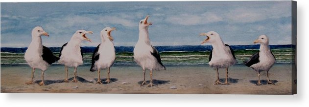 Seagulls Acrylic Print featuring the painting Caw Cuss by Haldy Gifford