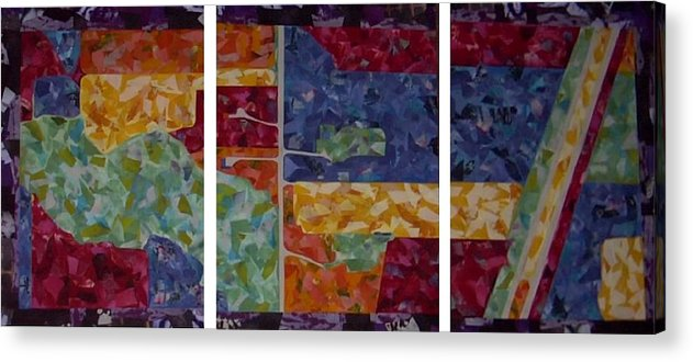 Textile Map Arial Colorful Collage Acrylic Print featuring the painting Cedar Grove Arial Map by Sally Van Driest