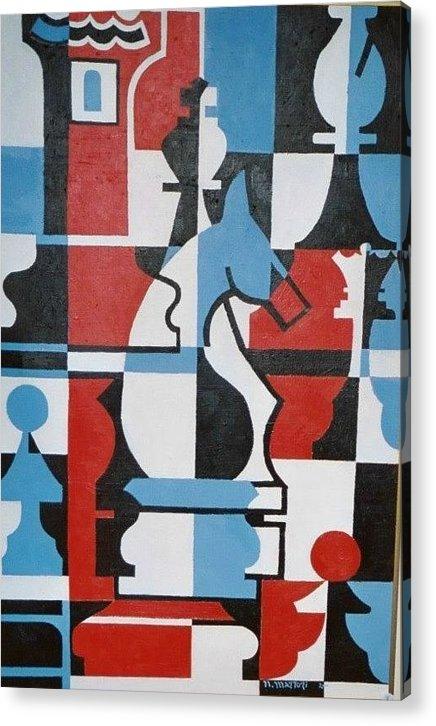 Chessmen Acrylic Print featuring the painting Chessmen by Nicholas Martori