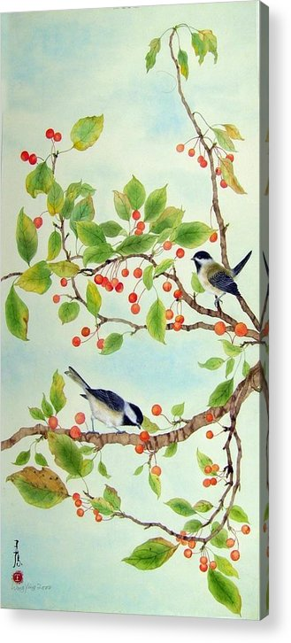 Chickadee Acrylic Print featuring the painting Chickadee I by Ying Wong