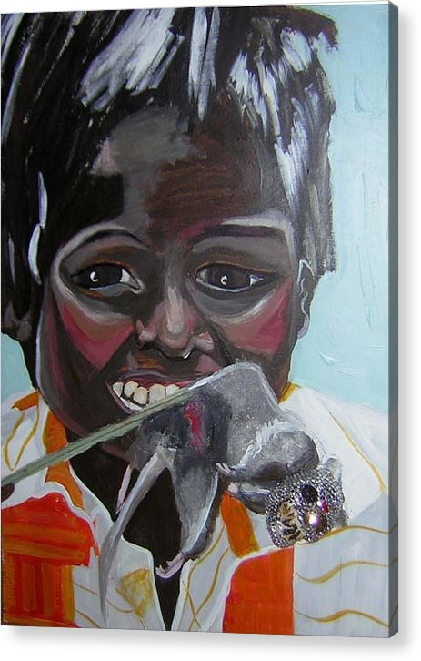 Greed Acrylic Print featuring the painting Child Eating A Rat 2007 For The Love Of Money by Michelley QueenofQueens