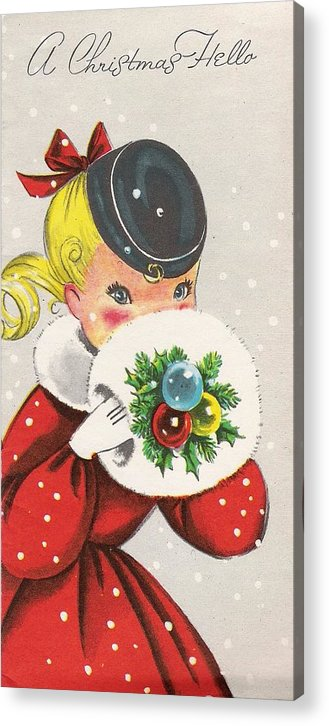 Little Girl With Snow Ball Acrylic Print featuring the painting Christmas Greetings 1236 - Vintage Christmas Cards - Little Girl With Snow Ball by TUSCAN Afternoon