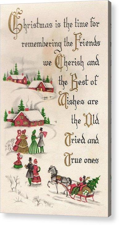 Christmas Greetings 817 - Vintage Christmas Cards - Christmas Quotes  Acrylic Print
