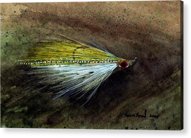 Fishing Fly Acrylic Print featuring the painting Clouser Minnow by Sean Seal