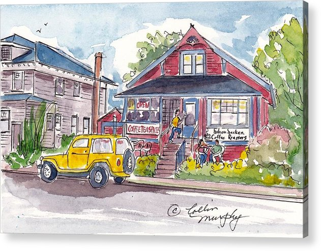 Landscape Acrylic Print featuring the painting Coffee Roasters by Collin Murphy