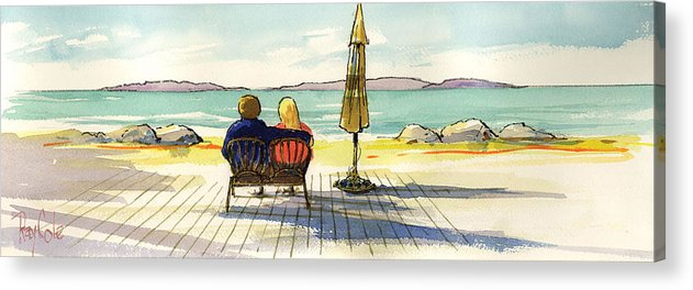 Beach Acrylic Print featuring the painting Couple At The Beach by Ray Cole
