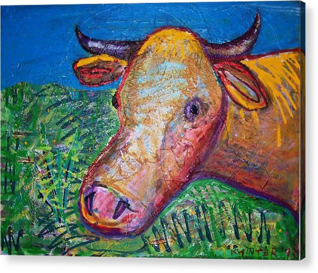 Cow Acrylic Print featuring the mixed media Cow by Dave Kwinter