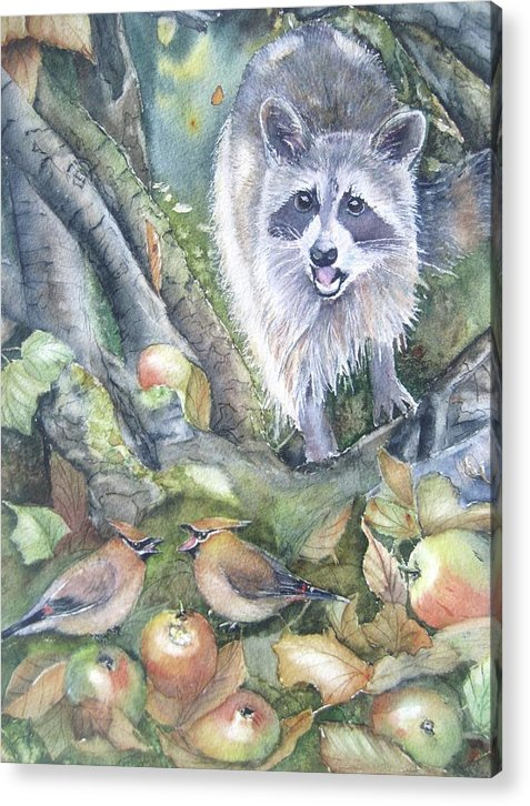 Wildlife Art Acrylic Print featuring the painting Cut It Out by Patricia Pushaw