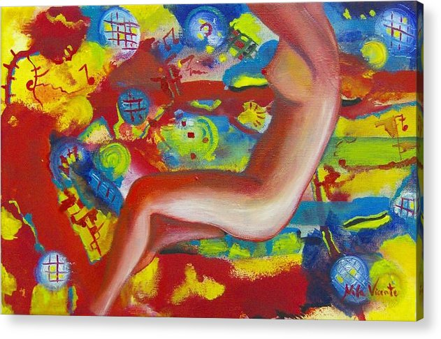 Surreal Woman Acrylic Print featuring the painting Dancing by Nela Vicente