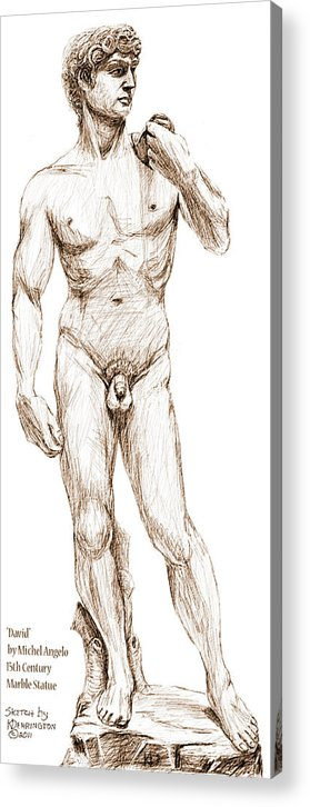 David Acrylic Print featuring the drawing David Sketch by Khaila Derrington